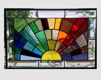 Beveled stained glass window panel rainbow arch geometric stained glass panel window hanging abstract suncatcher 0266 17 1/2 x 11 1/2