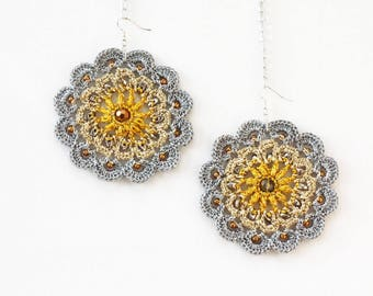 Big bold earrings Gold and silver round dangles Handmade crochet jewelry Statement pieces Boho chic Hippie Gypsy Summer festival fashion