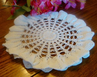White Round Doily Hand Crochet Doily Vintage Table Linens