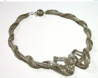 CLEARANCE SALE Beaded Ribbons & Bows Special Occasion Necklace - Cubic Zirconium and Viking Knit in Silver