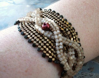CLEARANCE SALE Celtic Beadwoven Bracelet - Cable Cuff in Hunter Green, Antique Gold, and Sandy Cream with Red Pearls and Toggle Closure