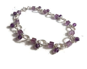 Amethyst Bracelet - Purple Jewelry - February Birthstone Jewellery - Sterling Silver - Gemstone
