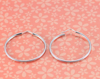 Sterling Silver Hoops, Silver Hoop Earrings, Medium Hoops