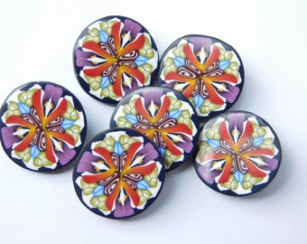 "Polymer Clay Shank Buttons, handmade kaleidoscope sewing buttons, 3/4"", 19 mm buttons"