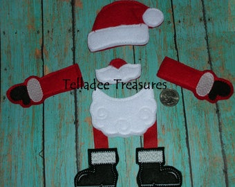 Santa Claus Parts Oversized Feltie - Christmas Red Felt - Great for Large Hair bows and large craft projects - Hat Beard Mustache Arms Boots