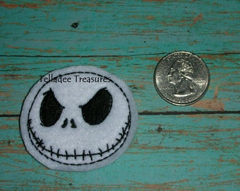 Jack Skeleton Head Face Feltie white felt - Great for Hair Bows, Reels, Clips and Crafts - Halloween and Christmas Skull