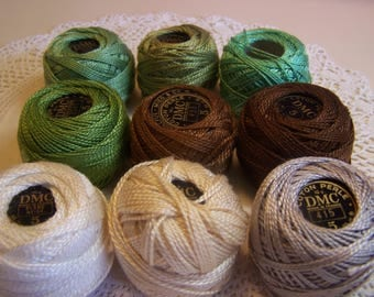 Assorted Vintage Size 5 DMC Pearl Cotton Threads 53 yard spools. Lot of 9
