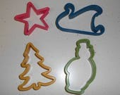 Vintage Cookie Cutters Christmas Holiday Plastic Star Tree Snowman Sleigh