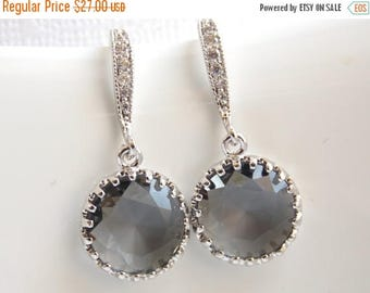 SALE Gray Earrings, Grey, Charcoal, Glass, Dangle, Cubic Zirconia, Wedding Jewelry, Bridesmaid Jewelry, Bridesmaid Earrings, Bridesmaid Gift