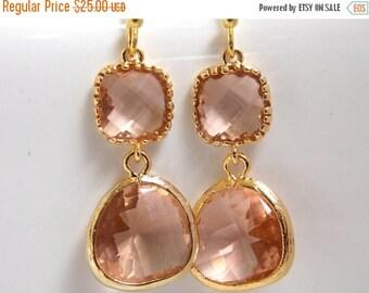 SALE Glass Earrings, Peach Earrings, Gold Earrings, Champagne, Blush, Nude, Bridesmaid Earrings, Bridal Earrings Jewelry, Bridesmaid Gifts