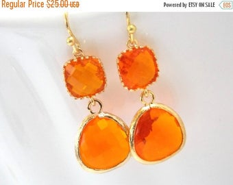 SALE Glass Earrings, Orange Earrings, Gold Orange Earrings, Tangerine, Wedding, Bridesmaid Earrings, Bridal Earrings Jewelry, Bridesmaid Gif