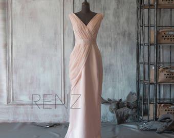 Bridesmaid Dress Peach Chiffon Wedding Dress,V Neck Prom Dress,Asymmetrical Ruched Maxi Dress,Fitted Long Dress Floor Length(F107)-Renzrags