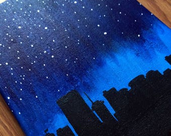 "Richmond, Virginia RVA Skyline under the Stars 8""x10"" Acrylic Painting on Canvas 
