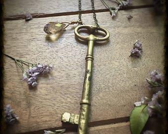 Vintage Brass Key Long Necklace with Crystal, Boho Jewelry, Authentic Antique Key Statement Necklace, Gold Key, Skeleton Key Necklace