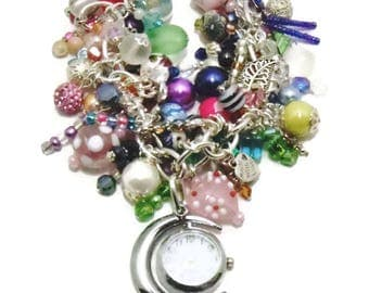 Watch/Bracelet Watch/Multi Media/Pearls/Sea Glass/Seed Beads/Ceramic Beads/Acrylic Flowers/Glass Hearts/ Square Glass Beads/Bicone Crystals