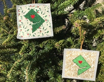 Ornament, DC Map, your choice of gold of holly pattern background, handmade sewn fabric ornament, 4x4 inches, hangs on satin ribbon