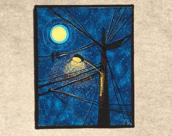 Street Light Moon Light Romance, 8x10 inches, original sewn fabric artwork, handmade, freehand appliqué, ready to hang canvas