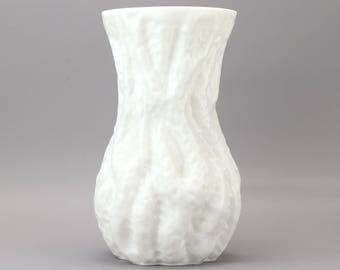 Vintage German/Austrian Ingrid Glashutte White Glass Bark Vase
