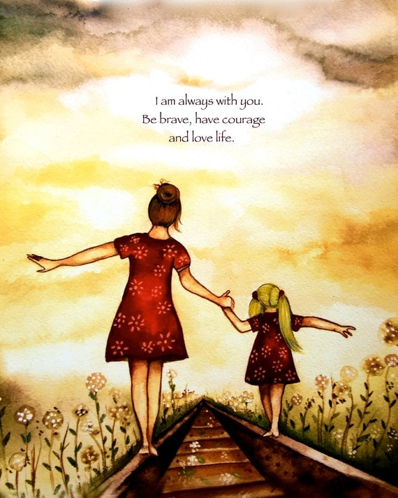 "brown Mother and blonde daughter ""our path"" art print with quote"