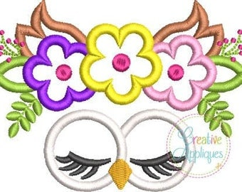 Owl Face with a Crown of Flowers - Appliqued and Personalized