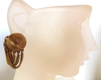 Vintage Gold Chain Clip Earrings Dangle Textured Button 50s (item 2)