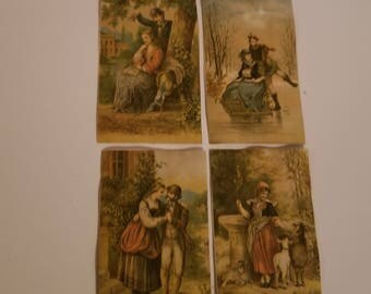 4 Victorian cards with men women couples scenes antique ephemera old scrap paper art supplies vintage Q5