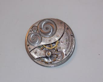 Antique 40mm Etched Pocket Watch Movement