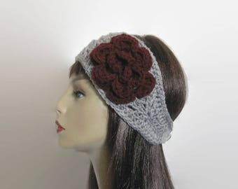 Grey Headband with Flower Silver Earwarmer With Flower Silver Grey Headband Light Gray knit hairband Crochet Headwrap Gray Hair wrap