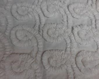 "WHITE on White Plush CURLIQUES Vintage Chenille Bedspread Fabric - 22"" X 42"" - #3"