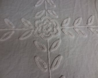"""Cabin Craft WHITE on White with 6 Needletuft Chenille FLOWERS and Leaves Vintage Chenille Bedspread Fabric - 36"""" X 45"""" - #1"""