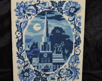 Vintage Blue White Needlepoint Picture Colonial Church Steeple Full Moon Flower Border Floral Needlework