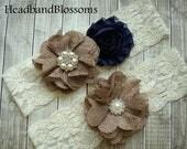 SALE BEST SELLER - Bridal Garter Set - Keepsake & Toss Wedding Garters - Navy and Burlap Flower Garters - Ivory Garter - Rustic Country Wedd