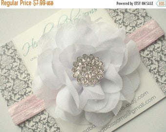 SALE White Chiffon Flower with Rhinestone Pink Headband - Newborn Baby Girl Adult - Valentine's Day - Photo Prop