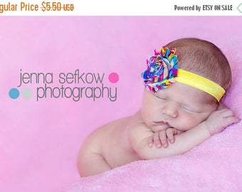 SALE Frayed Chiffon Rainbow Flower Shimmery Elastic Headband - Photo Prop - Newborn Infant Toddler - Birthday