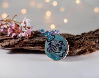 Pisces Astrology neckalce - wood jewelry