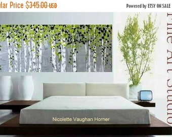 """SALE XLarge Abstract painting,Original comtemporary Art,Silver Birches Ready to hang  by Nicolette Vaughan Horner 60"""""""