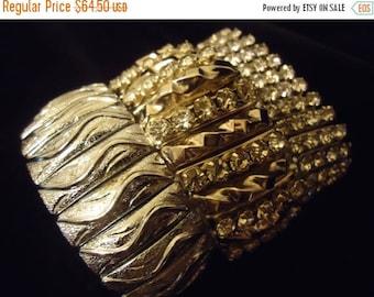 Now On Sale Vintage Rhinestone Expandable Bracelets Set of 3 1950's Collectible Mad Men Mod Black Tie Formal Retro Rockabillly Hollywood Reg