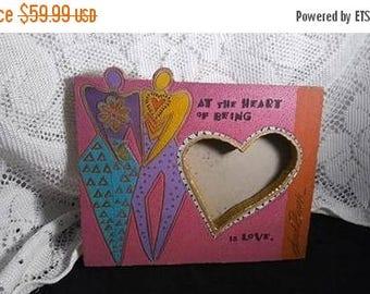 On Sale Laurel Burch Picture Frame, Vintage Heart Love Pink Purple Aqua Designer 1980's Home Decor Collectible, Lovers Heart Frame