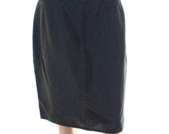 Vintage 90s My Own Charcoal Green Grey Side Split Pencil Skirt UK 14 US 12