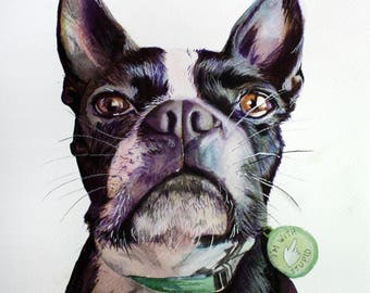 Boston Terrier Watercolor Digital Print, Dog Painting, Dog Wall Art, Dog Home Decor, Pet Art Portrait, Dog Lover Gift