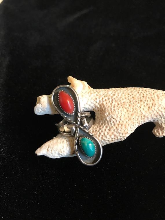 Sterling Turquoise Coral Ring Vintage - Signed BK