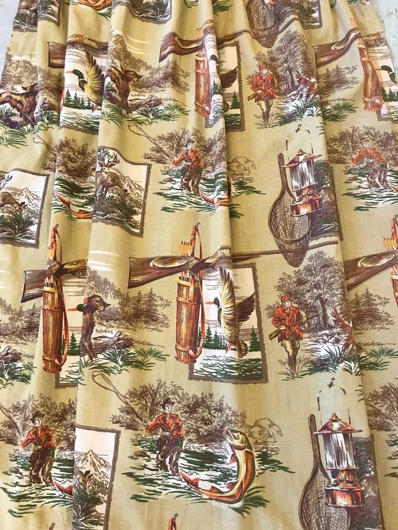 Vintage Hunting Fishing Camping Archery Curtains 1950s