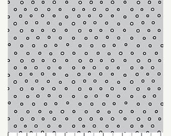 12% off thru July HIPSTER on the GO  Northcott by the HALF yard cotton quilt fabric tiny white circles dots on grey 21421-93