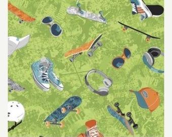 20 % off thru 8/20 360 SKATE Northcott by the yard cotton quilt fabric skateboard on LIME GREEN sun glasses, helmet, earphones, sneakers 209