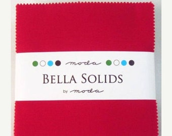 15% off thru Mar.19th charm pack  Bella Solid RED moda 42 FIVE(5) INCH squares fabric-9900Pp 16