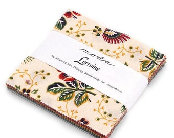 "15% off thru Mar.19th Moda Charm pack LORRAINE from American Jane 42 5"" squares cotton fabric French Country Floral"