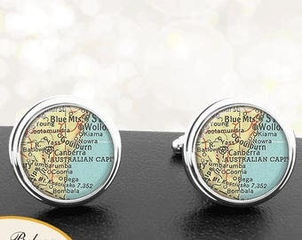 Map Cufflinks Canberra Australia Cuff Links for Groomsmen Groom Fiance Anniversary Wedding Party Fathers Dads Men