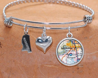 Southaven, Horn Lake MS Map Charm Bracelet State of Mississippi Bangle Cuff Bracelet Vintage Map Jewelry Stainless Steel Bracelet