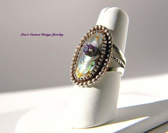 Abalone shell amethyst sterling silver statement ring