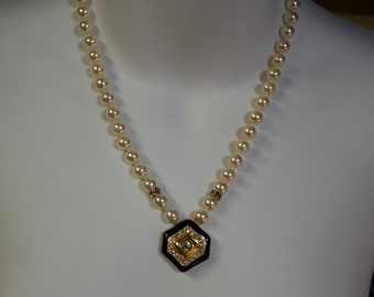 """Genuine Swarovski Faux Pearl and Enameled Crystal Pendant 18"""" Necklace"""